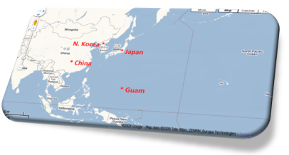 N. Korea, Japan, Guam, China